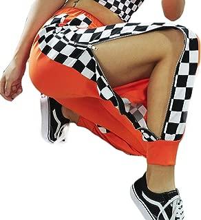 UR MAX BEAUTY Pantalones De Harén A Cuadros con Cremallera Lateral Naranja para Mujer, Pantalón De Calle Hip Hop De Cintura Alta con Bolsillo,S