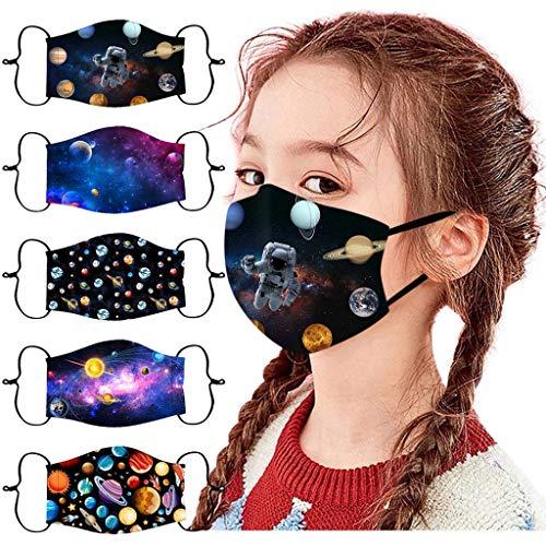 riou 5 Stück Kinder Mund und Nasenschutz Stoff Waschbar Baumwolle mit Motiv Mundschutz Multifunktionstuch für Junge und Mädchen
