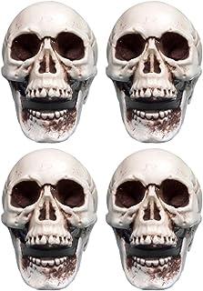 Hakka 6 Piezas de Mini Calaveras de Halloween Cabeza de Calavera de Réplica Realista para Colgar Decoración de Escritorio
