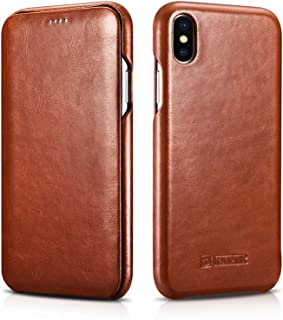 Compatible 2018 New iPhone Xs Max, iPhone 6.5 inch Case, ICARER Classic Series, Cowhide Leather Cases for Apple iPhone Xs Max, 100% iPhone Xs Max Leather Flip Case, Brown