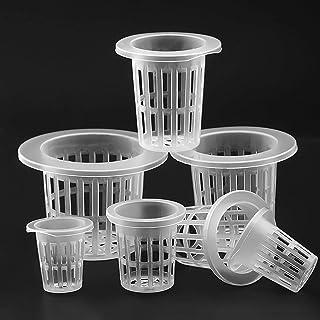 Wonninek Grid Net Cup Pot Basket Sistema hidropónico Suministro Cultivo hidropónico Semillas Cesta de siembra un Paquete de 20 (Blanco)