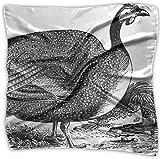 FUGVO Guinea Fowls Hand Drawn Lady Printed Square Bufanda Headdress Neck Satin Scarves Wrap Shawl Kerchief