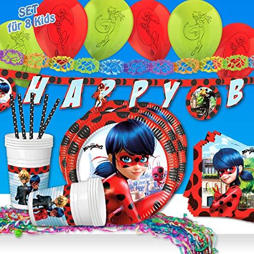geburtstagsfee Juego de fiesta de 57 piezas de Ladybug para 8 niños de Miraculous