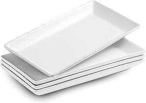 Porcelain Serving Platters White Rectangular Platter Set Matte Large Serving Trays Ceramic Dinner Plates for Appetizers, Sushi, Dessert, Food, Parties, 12 Inches, Set of 4