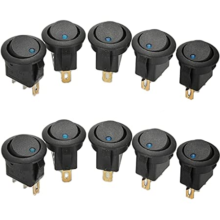 Mintice 10 X 12v 16a Blau Led Licht Auto Kfz Runder Punkt Schalter Wippschalter Kippenschalter Druckschalter Drucktaster Ein Aus Auto