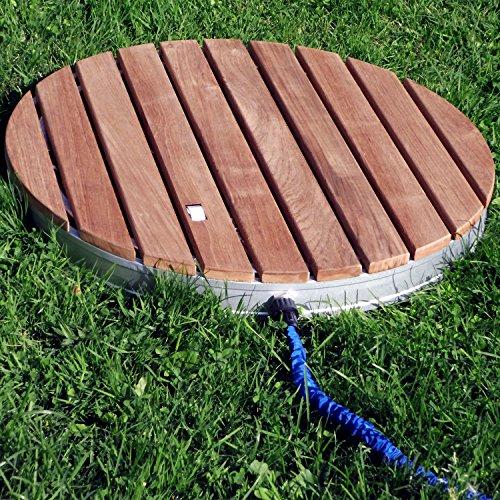 @tec Gartendusche Aussendusche aus massivem Teak-Holz, Mobile Bodendusche Campingdusche, Sauna- & Pool-Dusche rund mit Bodenplatte für den Garten, Outdoor Shower - 2