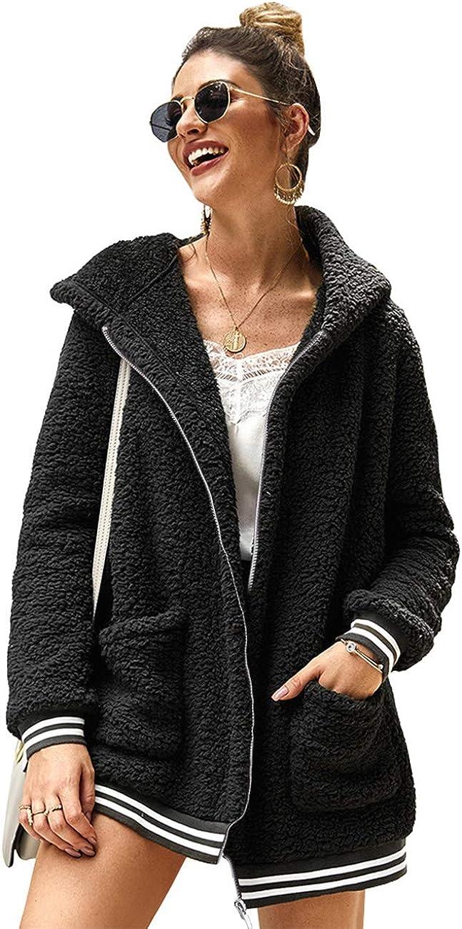 LOMON Cardigan for Women Oversized Fuzzy Fleece Long Sleeve Open Front Hooded Jacket Coat Winter Outwear with Pockets