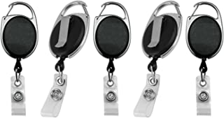 Retractable Badge Holder & Reel | for ID Cards, Keys, Lanyards, Self Retracting, Carabiner Clip On | Black by Blue Shoe Guys | 5-Pack | (Happiness Guarantee)