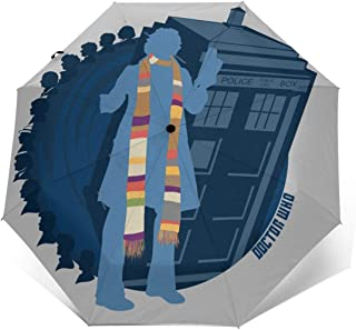 4th Doctor Who Silhouette Tom Baker Tardis Windproof Compact Auto Open And Close Folding Umbrella,Automatic Foldable Travel Parasol Umbrella