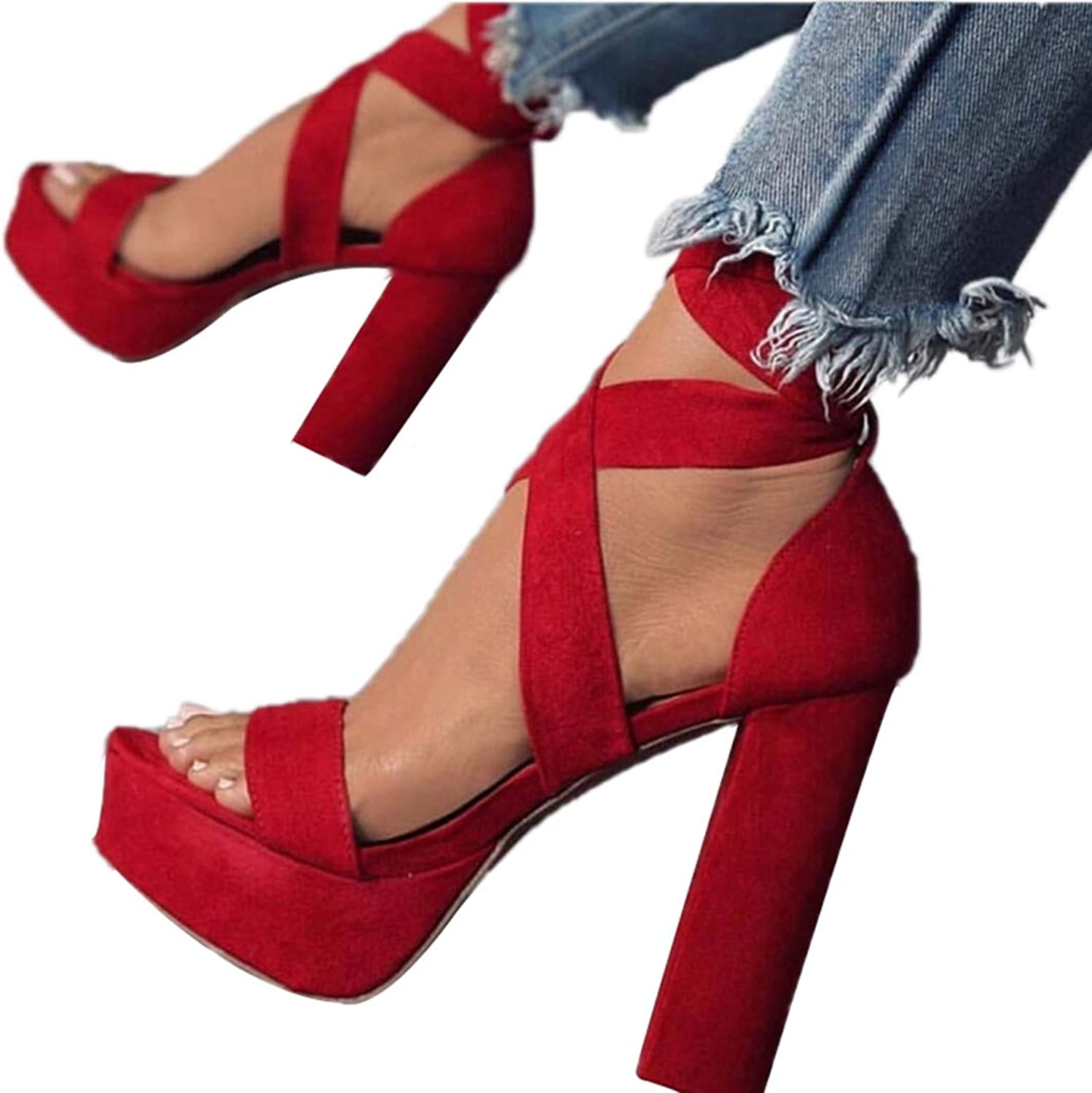 Women's Sandal Red Cross Lace-up Thick Heel High Heel shoes Open Toe Pumps Heeled Sandals