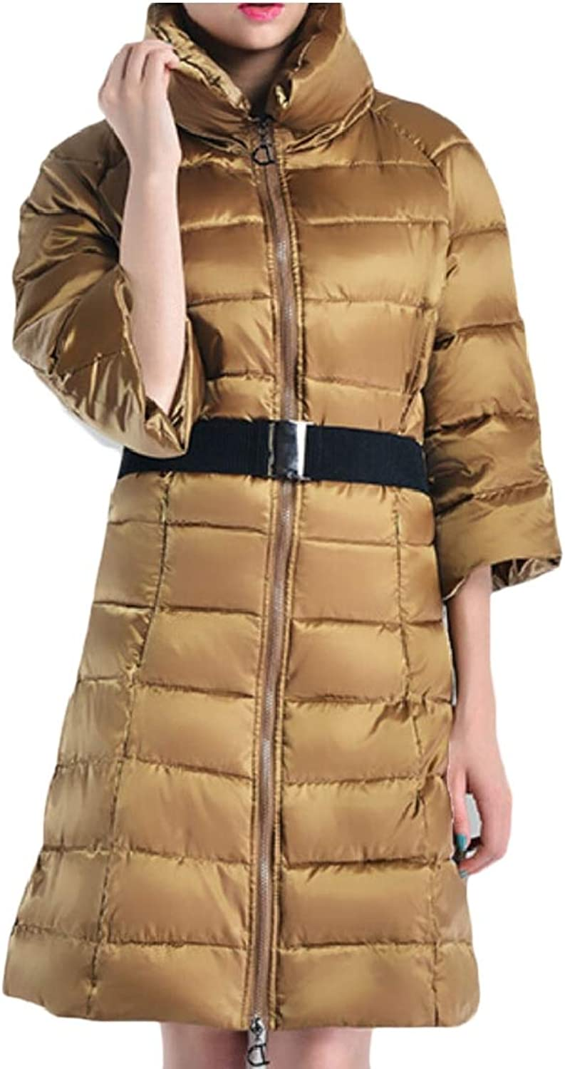 Gocgt Women Long Jacket Belted Quilted Outerwear Winter Down Coats