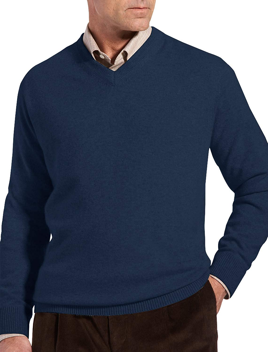 Rochester by DXL Big and Tall Cashmere V-Neck Sweater