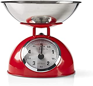 Nedis Küchenwaagen Küchenwaagen   Analog   Edelstahl   inklusive abnehmbare Schüssel   Schwarz Red