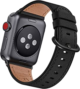 OMIU Leather Bands Compatible for iWatch 38mm 40mm 42mm 44mm, Genuine Leather Replacement Band Compatible with Apple Watch Series 6/5/4/3/2/1,iWatch SE (Black/Black Connector, 42mm 44mm)
