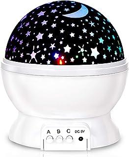 Baby Night Lights, Moon Star Projector 360 Degree Rotation - 4 LED Bulbs 8 Color Changing Light, Romantic Night Lighting L...