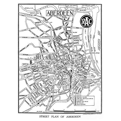 Map 1934 Aberdeen City Scotland Street Plan Chart Large Wall Art Poster...