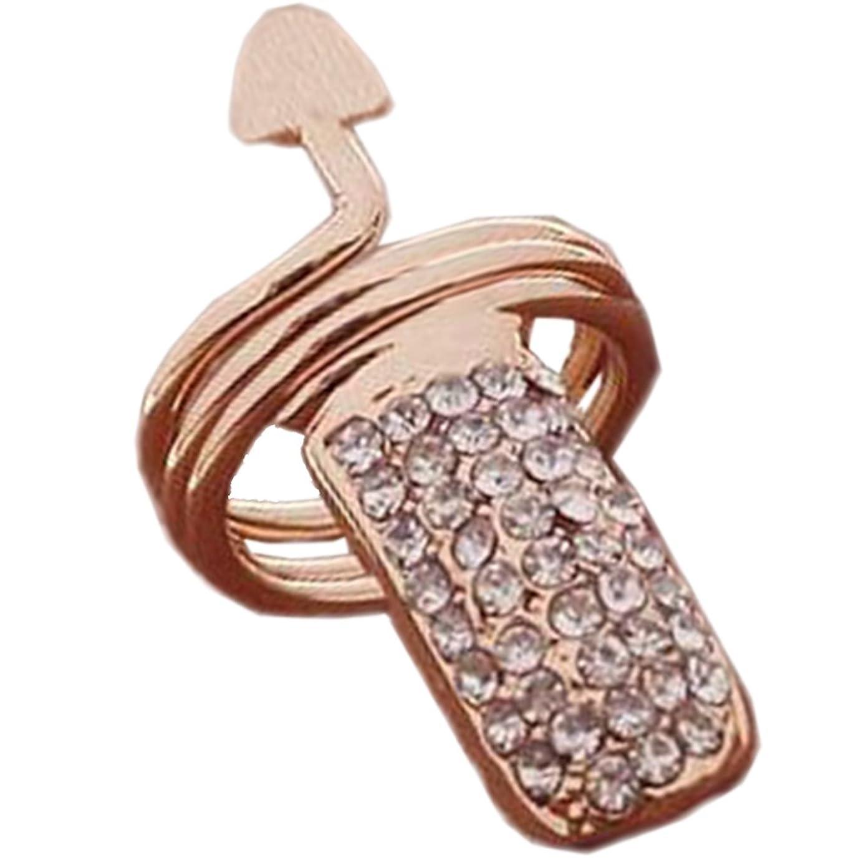 ブレススラム採用する女性の女の子のための2個のラインストーンの指の爪リングネイルキャップカバーネイルアートチャーム、ゴールデン