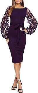 SheIn Women's Elegant Mesh Contrast Bishop Sleeve Bodycon Pencil Dress
