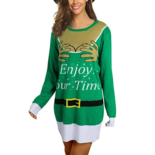 2417b8ebf27 Idgreatim Women Ugly Christmas Knitted Jumper Sweater Dresses Casual Long  Sleeve Tunic Top