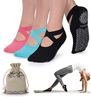 Yoga Socks for Women Non-Slip Grips & Straps, Ideal for Pilates, Pure Barre, Ballet, Dance, Barefoot Workout