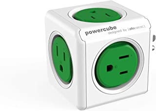 Allocacoc PowerCube  Original , 5 Outlets, Surge Protection, Wall Plug, Cell Phone Charger, Compact for Travel, Home and Office, Space Saving, ETL Certified(Green)