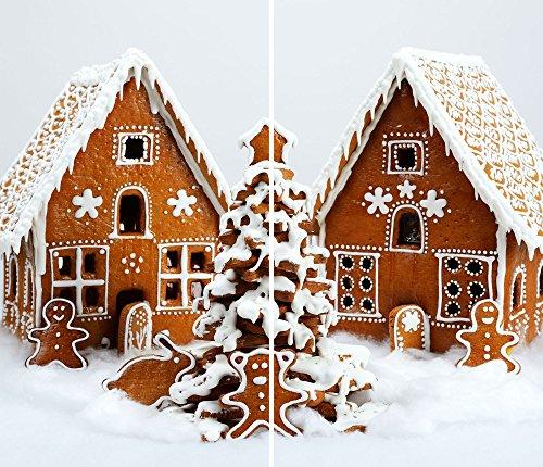 DAMU |Ceranfeldabdeckung 2 Teilig 2x30x52 cm Herdabdeckplatten Weihnachten Elektroherd Induktion Herdschutz Spritzschutz Glasplatte Schneidebrett Weiß Braun Weihnachten