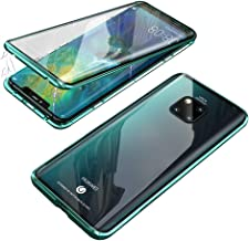 Compatible with Huawei Mate 20 Pro Case, Jonwelsy 360 Degree Front and Back Transparent Tempered Glass Cover, Strong Magnetic Adsorption Technology Metal Bumper (Green)