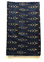 NK Textiles Women's Ikat Print Linen Cotton Unstitched Fabric | Navy Blue | 2.5 Meters | 3 Meters | 5 Meters | for Making Kurtis, Gowns, Palazzo, Patiyala etc Dress Material