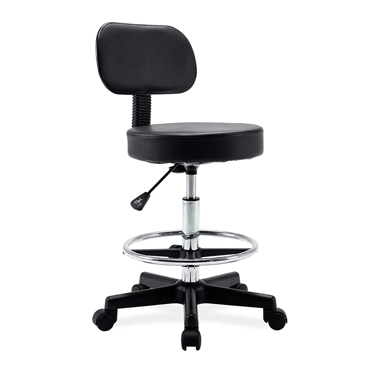 Ergonomic Drafting Stool- Adjustable Rolling Office Chair Work Stool with Back and Wheels for Home Office Workplace Studio Guitar Practice, seat Height 19.7-27.5'' …