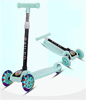 LELE Folding 3 Flash Wheel Scooter for Kids Boys Girls Adjustable Height PU Wheels Best Gifts (Green)