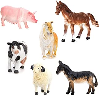 ROSENICE 6pcs Mini Farm Animal Figures Toy Set Pig Dog Cow Sheep Horse Donkey