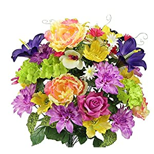 Admired By Nature GPB7315-YW/LV/PUR MX Artificial Full Blooming Flowers, Yellow/Lavender/Purple Mix
