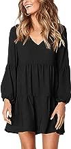 JTAISC Women's Long Sleeve Tunic Dress V Neck Casual Ruffle Swing Short Dress