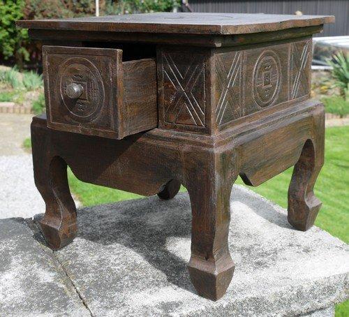 Schöner Holz Nachttisch Opiumtisch Telefontisch Beistelltisch Bali Tisch 06