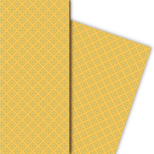 Kartenkaufrausch Retro tegel cadeaupapier set in geometrisch vintage design, geel, voor lieve geschenkverpakking, doe-het-zelf projecten, knutselen, 4 vellen, 32 x 48 cm
