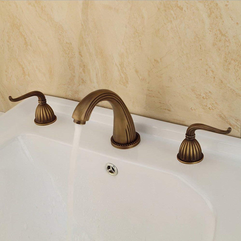 GONGFF Waschtischarmaturen Wasserhahn dreiteilige Waschbecken Badezimmer-Set Kupfer antiken Waschtischmischer Continental Retro Split Badewanne Wasserhahn Mischbatterie Waschtischmischer Sitzhahn