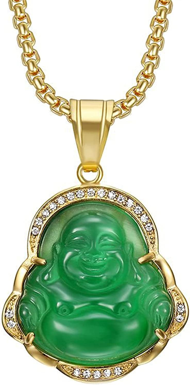 HMOOY Lucky Laughing Buddha Necklaces New popularity Green Jade ...