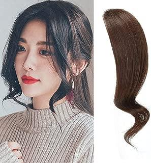 Dsoar 2PCS Wave Side Bangs Real Human Hair Clip In Bangs Wave Fringe Hair Extensions(Dark Brown Color)