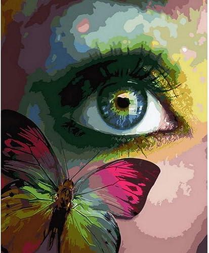 Waofe Peinture Par Numéros Mur Décor Diy Image Peinture à L'Huile Sur Toile Pour La Décoration De La Maison Papillon Dame- No Frame4