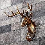 WLLLO Gancho de pared animal retro decoración creativo hogar resina gancho cabeza de ciervo dorado gancho para casa/bar-F