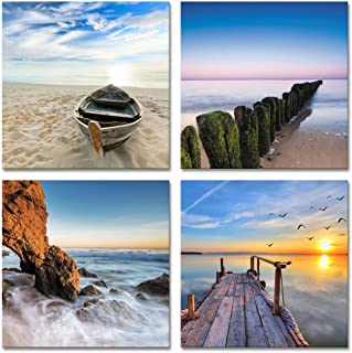 Wieco Art Seaview Sea Beach Canvas Prints Wall Art Large Modern 4 Panels Seascape Giclee Paintings Pictures Stretched and Framed Landscape Artwork Ready to Hang for Home Decorations