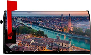 "NCXIAO Magnetic Mailbox Cover - 18""W x 21""H, Verona Italy During Summer Sunset Blue Hour Adige River Medieval Historcal,Mailbox Wraps Post Letter Box Cover"