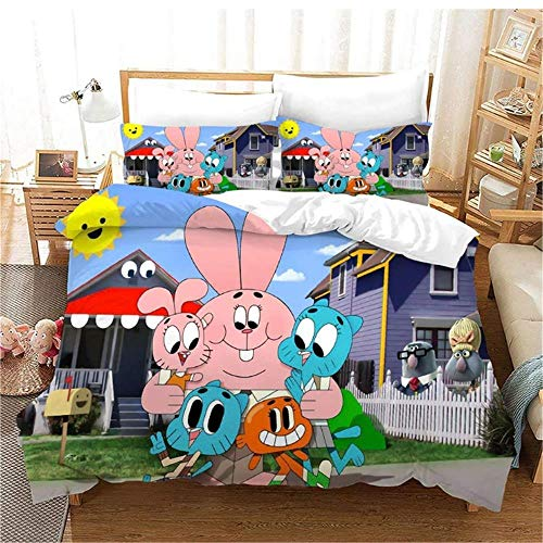 YLAXX 3D Duvet Cover Sets Cartoon Anime Cute Rabbit 200 X 200 Cm Duvet Covers King Size Beds Super Soft Anti-Allergy 4 Piece 3D Printed Duvet Covers Fitted Bed Sheet,2 Pillow Case