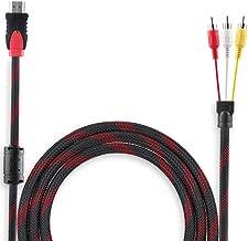 MMOBIEL Cable Negro HDMI a 3RCA de Audio Video AV 1,5 Metros conversor Adaptador Alta definición Macho M/M para HDTV DVD