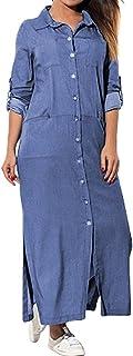 Fankle Women's T-Shirt Dress Solid Denim Maxi Dress Stand Collar Long Sleeve Buttons Up Casual Loose Cowboy Sundress Split Hem Tunics Dress