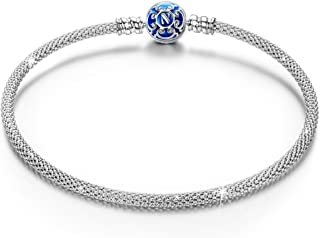 "NINAQUEEN 7.5"" Genuine Mesh Bracelet 925 Sterling Silver Woven Bangle Bracelets with Fixed Clasp Charms-Groovy Gifts For Teen Girls"