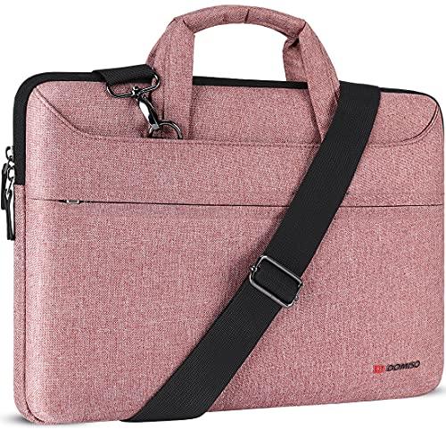 DOMISO 17 Zoll Laptop Tasche Hülle Notebooktasche Wasserdicht Aktentasche Tragetasche Schultertasche für 17.3' Dell Inspiron/MSI GS73VR Stealth Pro/Lenovo IdeaPad/HP Envy/LG Gram/ASUS ROG,Rosa