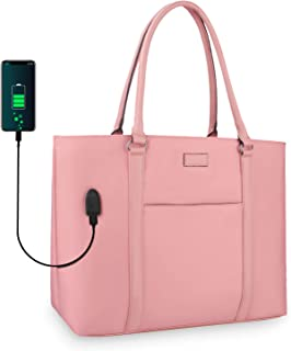 Woman Laptop Tote Bag,USB Teacher Bag Large Work Bag Purse Fits 15.6 in Laptop Large pink 852