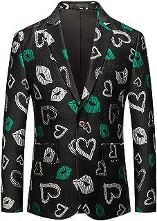 GREFER Floral Blazers for Men Slim Fit One Button Suit Tuxedo Stylish Business Wedding Sport Coats
