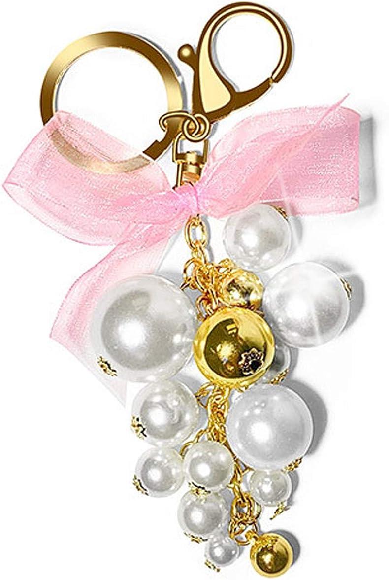SecreTalk Pearl Keychain for Women Bag Charm, Crystal Car Key Accessories for Purse, Handbag Decoration